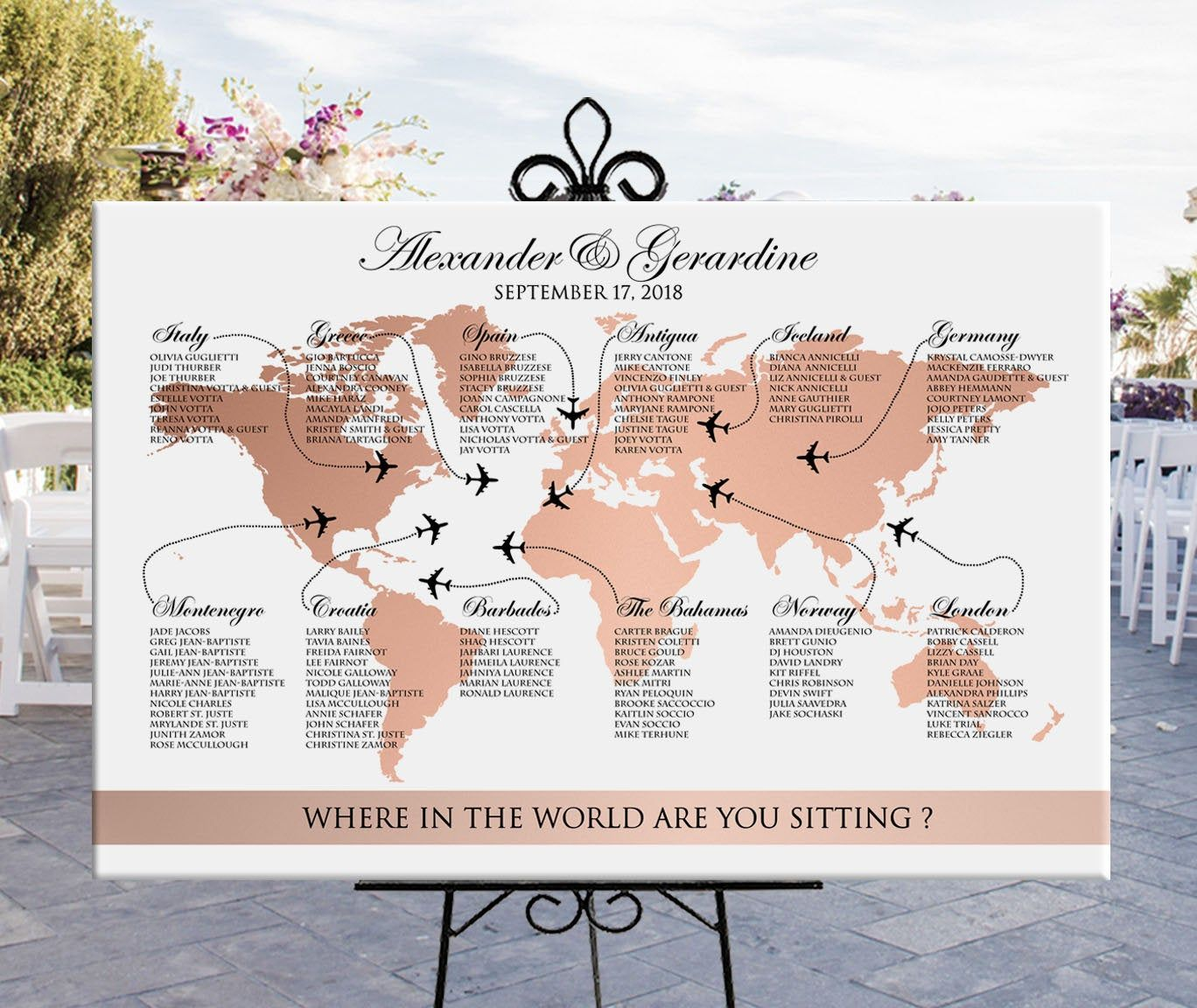 World map seating chart wedding printable rose gold, travel theme destination wedding or party rose gold seating chart, digital file