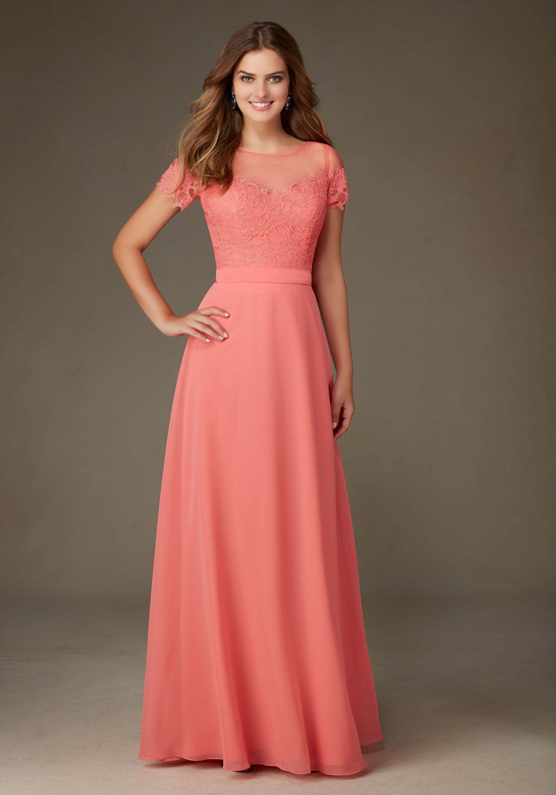 124 lace and chiffon illusion neckline bridesmaid dress designed 124 lace and chiffon illusion neckline bridesmaid dress designed by madeline gardner shown in coral ombrellifo Choice Image