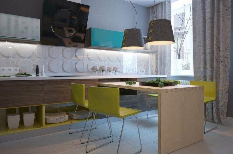 muebles de madera y pared muy original en la cocina   Cocinas ...