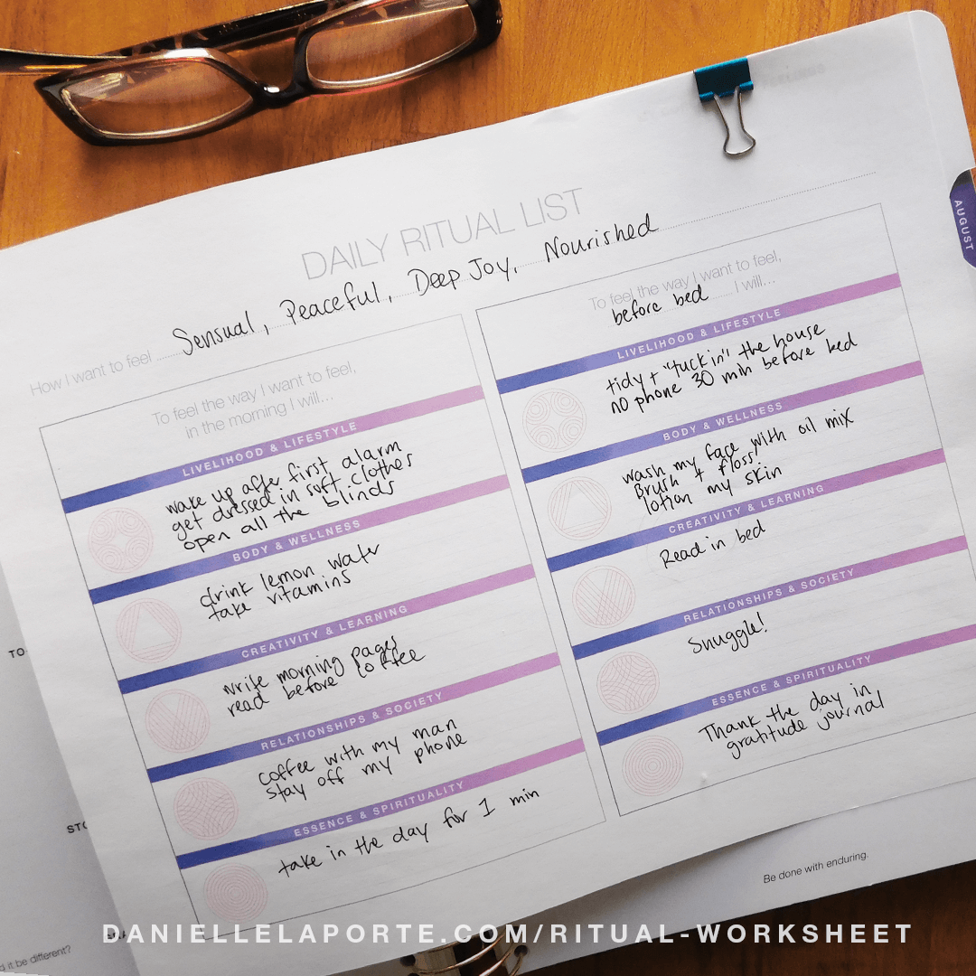 Daily Ritual Worksheet