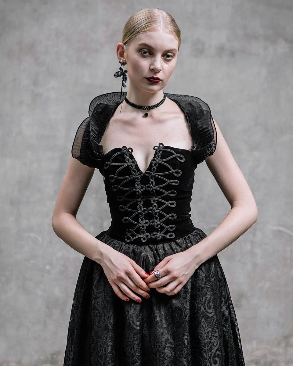 Punk Rave Bluse Gothic Korsett /& Brosche Steampunk Victorian Corset Pin Up Y542