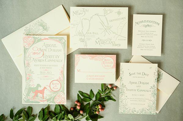 Abigail + Tim\'s Art Nouveau Wedding Invitations   Weddings, Wedding ...