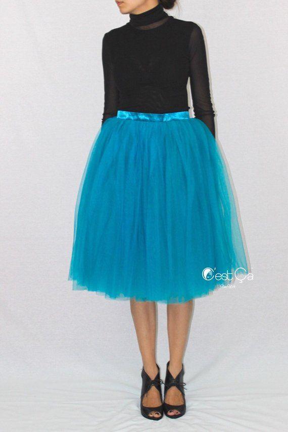 c8af2ba9be Colette - Teal Tulle Skirt, Soft Tulle Skirt, Tea Length Tutu, Layered  4-layersTulle Skirt, Dance Sk