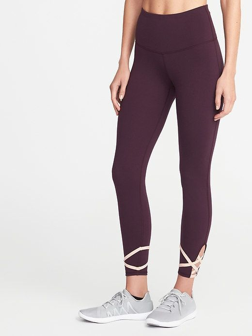 ccc9bfd2a89abc Old Navy High-Rise Lattice-Trim 7/8-Length Compression Leggings for Women