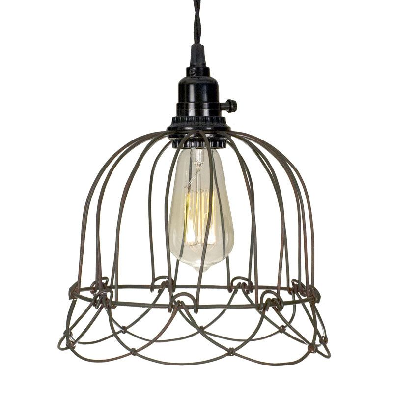 Green Rust Small Wire Bell Cage Pendant Light Pendant Lamp Cage Pendant Light Dome Pendant Lighting