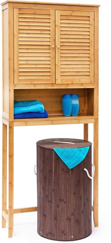 Relaxdays Wasmachine Kast Lamell Bamboe Wasdroger Kast Badkamerkast Natuur In 2020 Wasdroger Kast En Bamboe