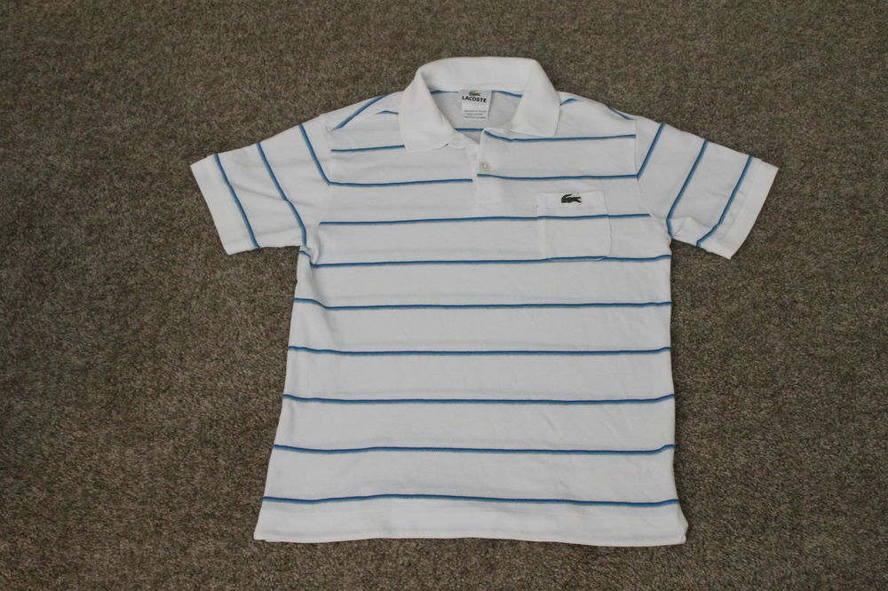 Lacoste Boys Short Sleeve 100% Cotton Polo Shirt W/ Pocket White Striped Size 14 #Lacoste #Everyday