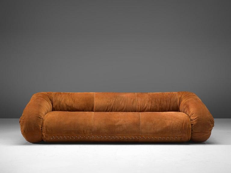 Alessandro Becchi Anfibio Sofa In Cognac Suede In 2020 Cognac Leather Sofa Suede Sofa Sofa