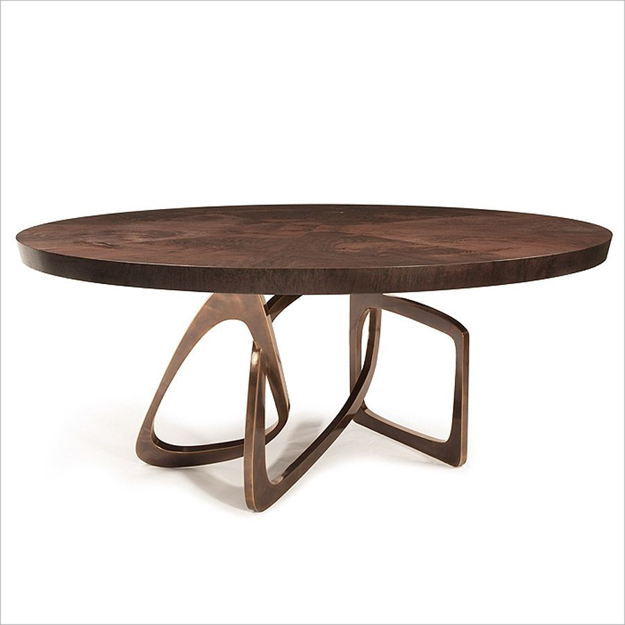 Round Bangle Dining Table Walnut Top With Statuary Bronze Base
