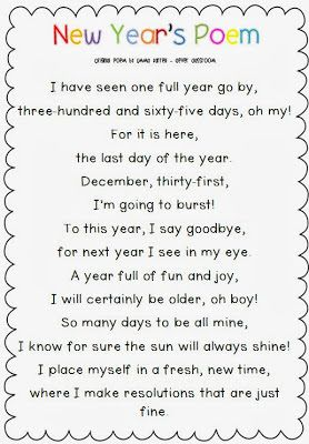 New Year's Poem Freebie and Printables | New year poem ...