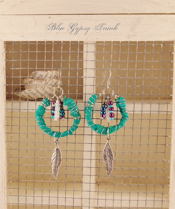 Turquoise/Green Dangle Earrings by Bluegypsytrunk on Etsy