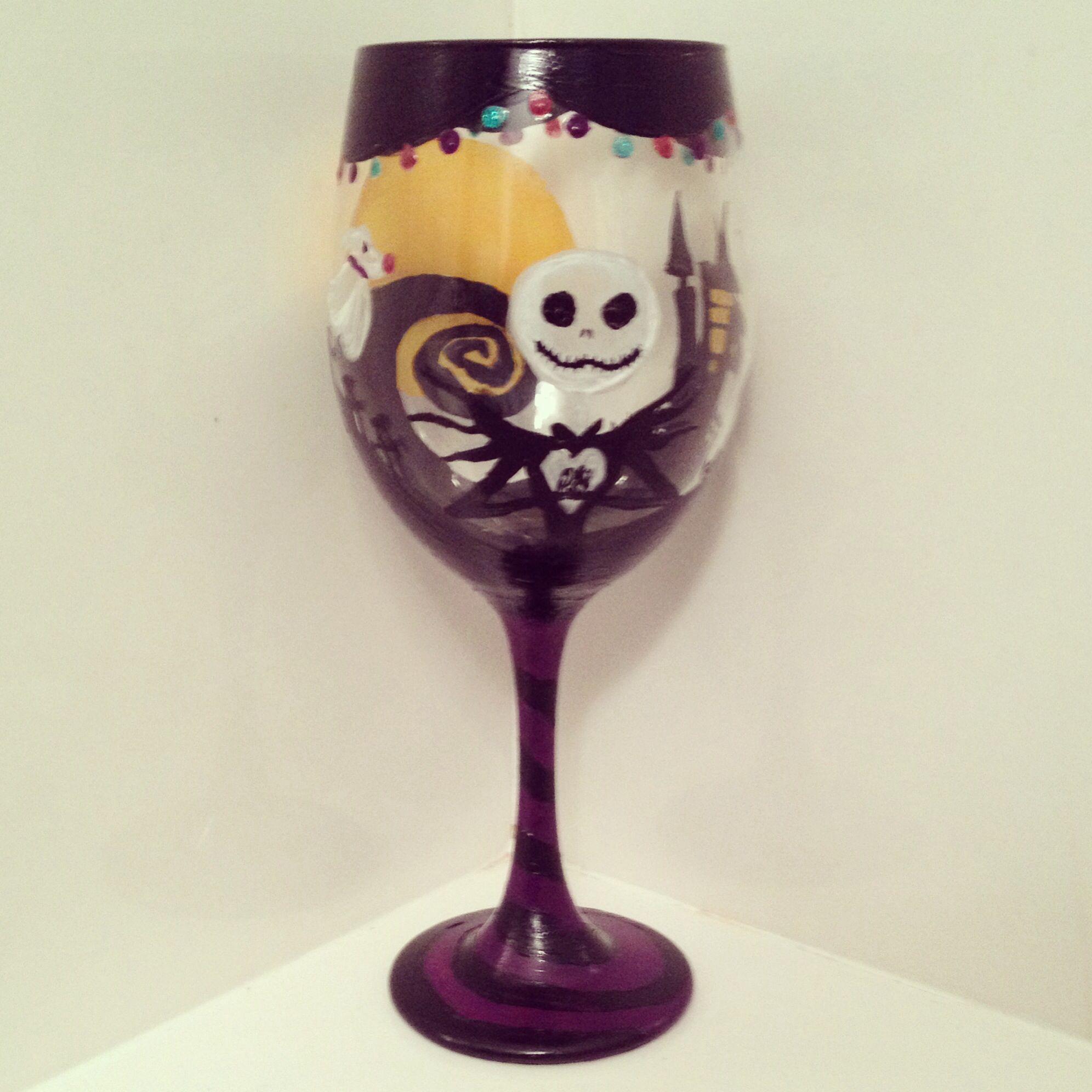 Nightmare Before Christmas Wine Glass! | Wine Glasses | Pinterest ...