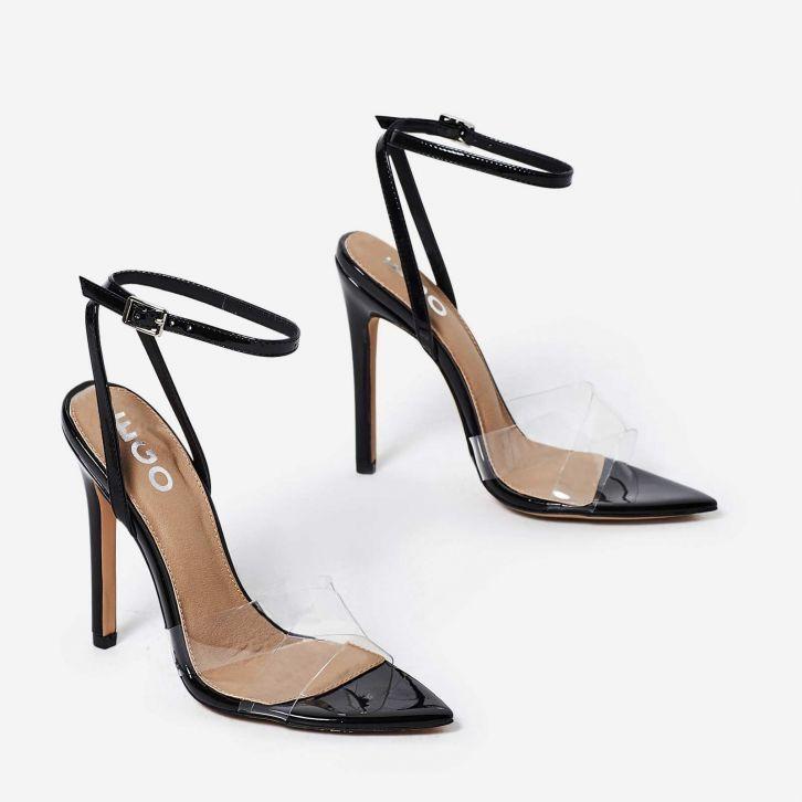 e9033948006a24 Celia Perspex Pointed Barely There Heel In Black Patent.  heels  highheels   clearhighheels