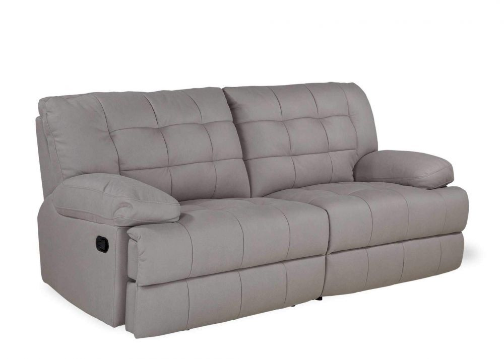 2.5 Seater Light Grey Fabric Reclining Sofa - Cooper - EZ ...