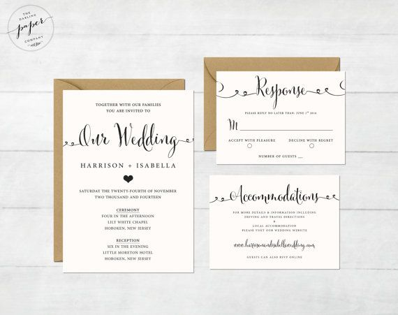 This listing is for printable wedding invitation suite for you to