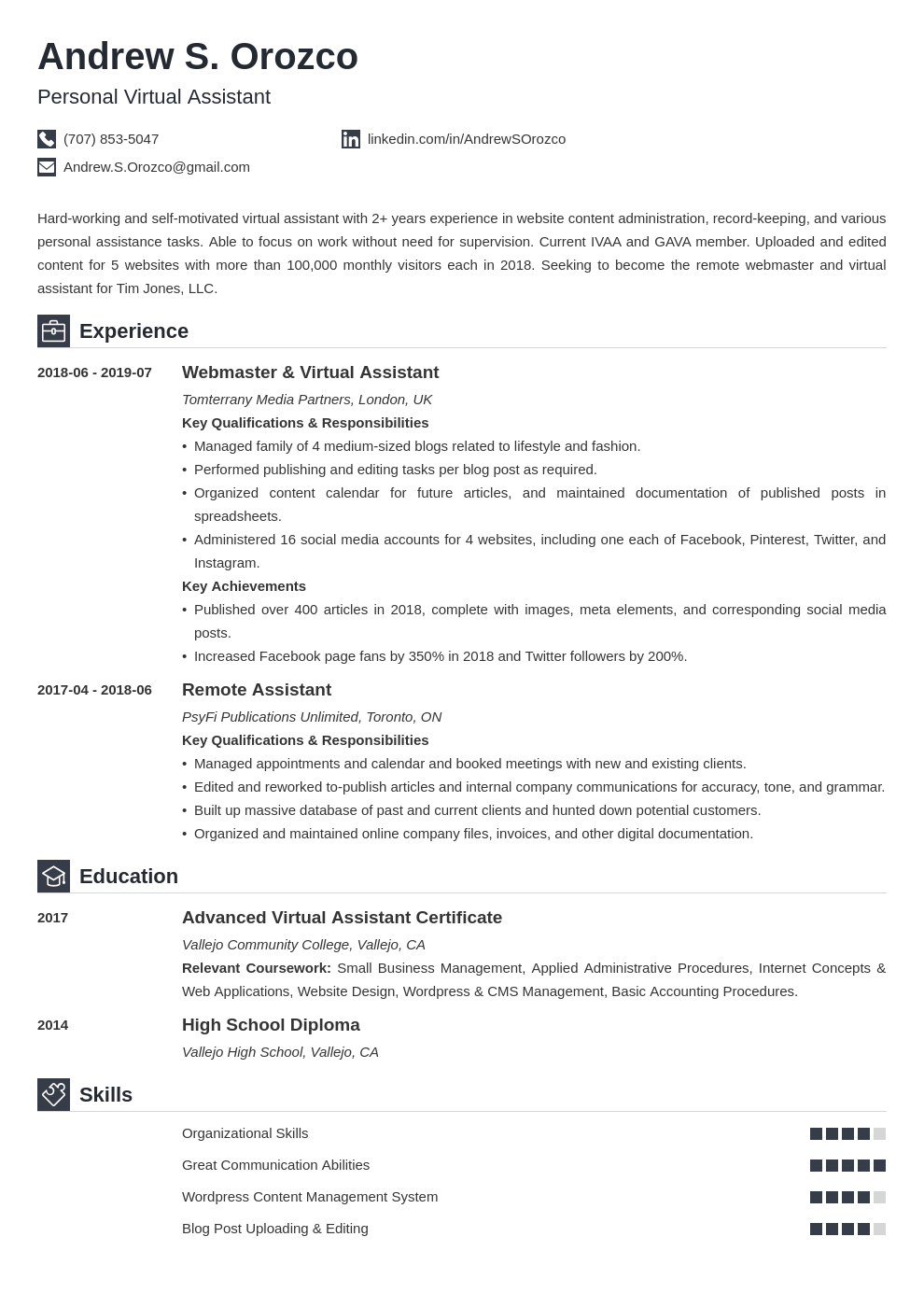 virtual assistant resume example template iconic in 2020