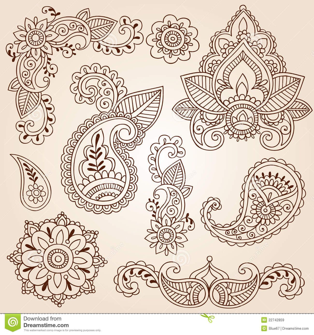 15b0aa217e3ed Free Henna Designs | henna doodles mehndi tattoo design elements set  royalty free stock