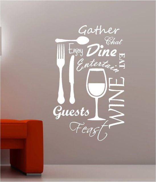 Kitchen Word Cloud Vinyl Wall Decal Dining Food Wine Fork Cup Knife Mural Art Wall Sticker Restau Kitchen Wall Art Stickers Vinyl Wall Art Quotes Wine Wall Art
