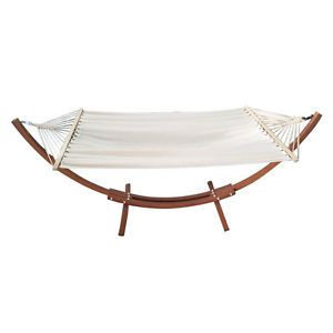new wood wooden arc hammock stand w cotton hammock patio sling swing cot bed new wood wooden arc hammock stand w cotton hammock patio sling      rh   pinterest