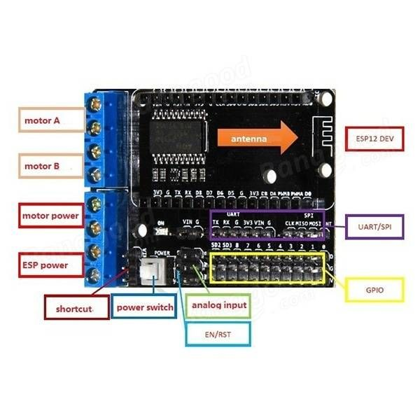 L293d Wifi Smart Robot Car Motor Driver Expansion Board Dual High Power H Bridge Based On Esp12e For Arduino Iot Esp8266 Projects Smart Robot