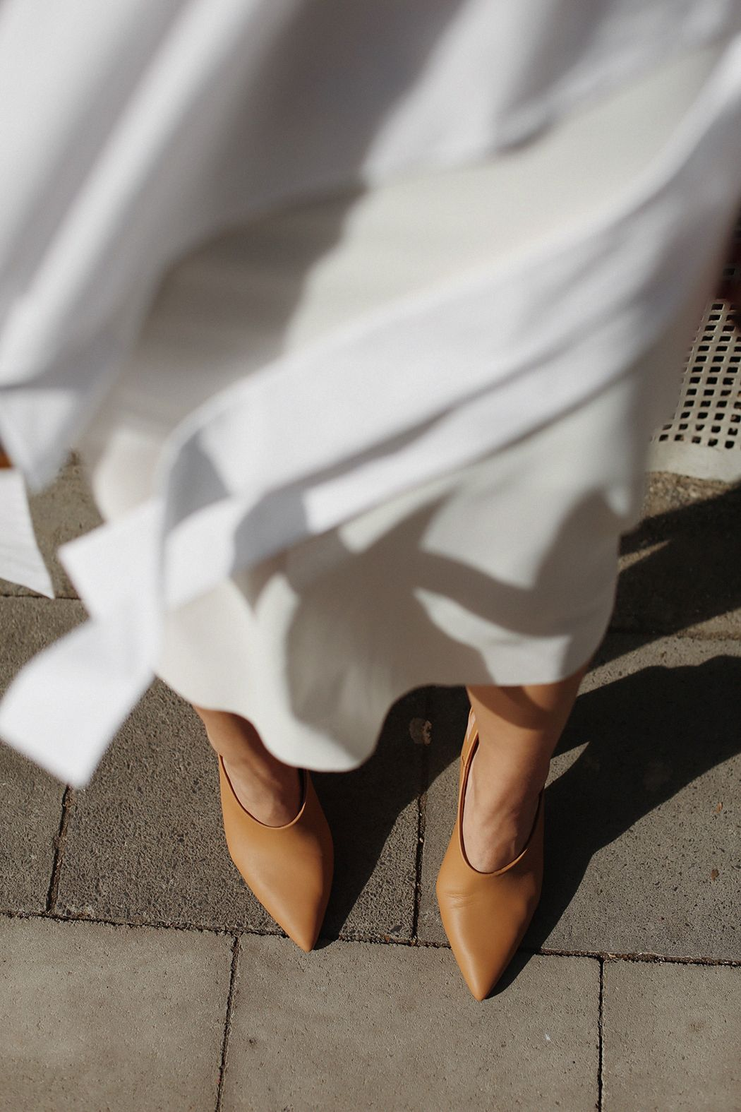 Photo of OUTFIT: The White Cos Cape Blouse & Nude Pointy Heels