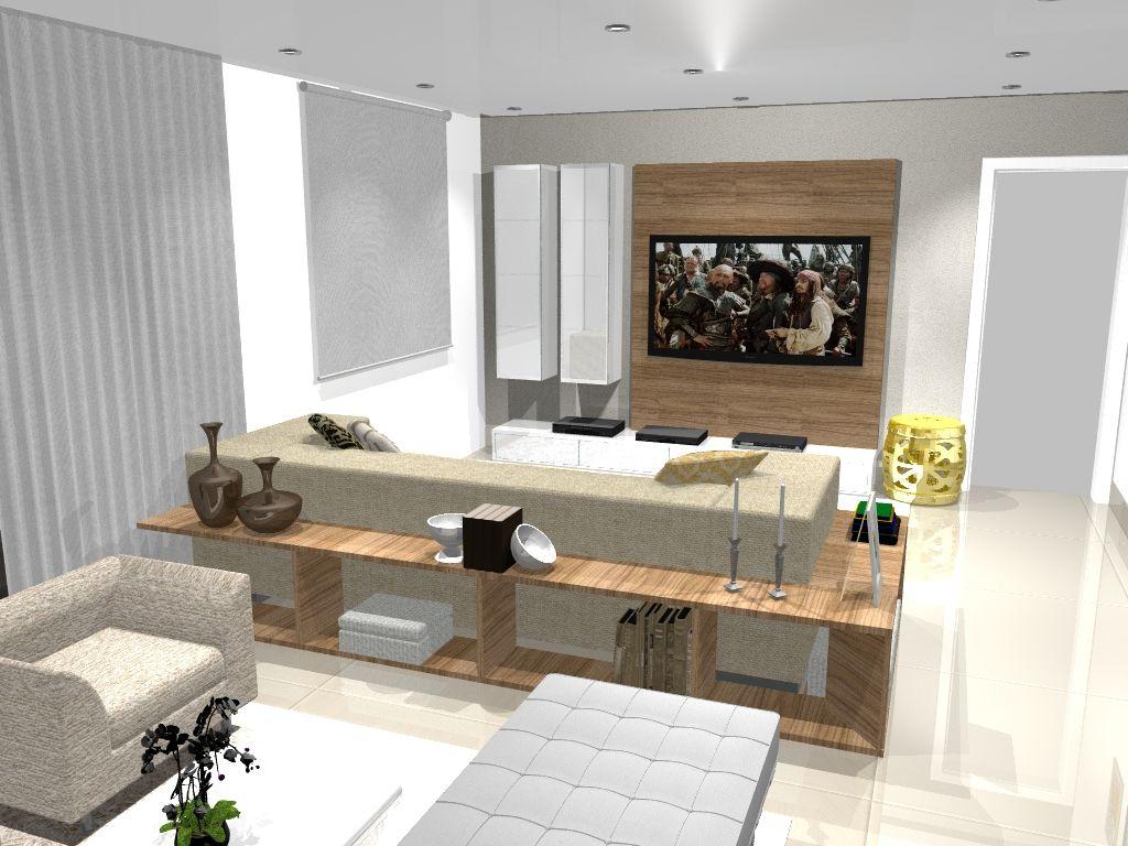 Sala De Estar Com Painel Para Tv E Duas Torres Em Vidro Ultra White  -> Medidas De Una Sala De Tv