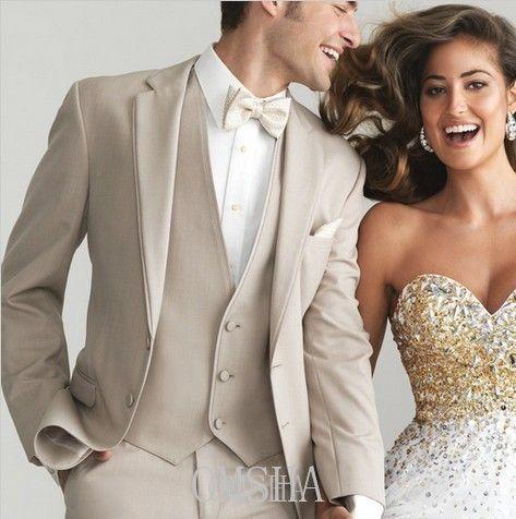Sur mesure Champagne smoking marié costume de mariage   marié mariage  convient les hommes de luxe 12cc1f4161f