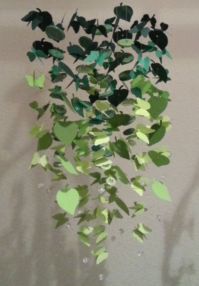 Paper Butterfly Leaf & Buttons Chandelier Baby Mobile Nursery Decor Girl Shower Gift MADE TO ORDER. $50.99, via Etsy.