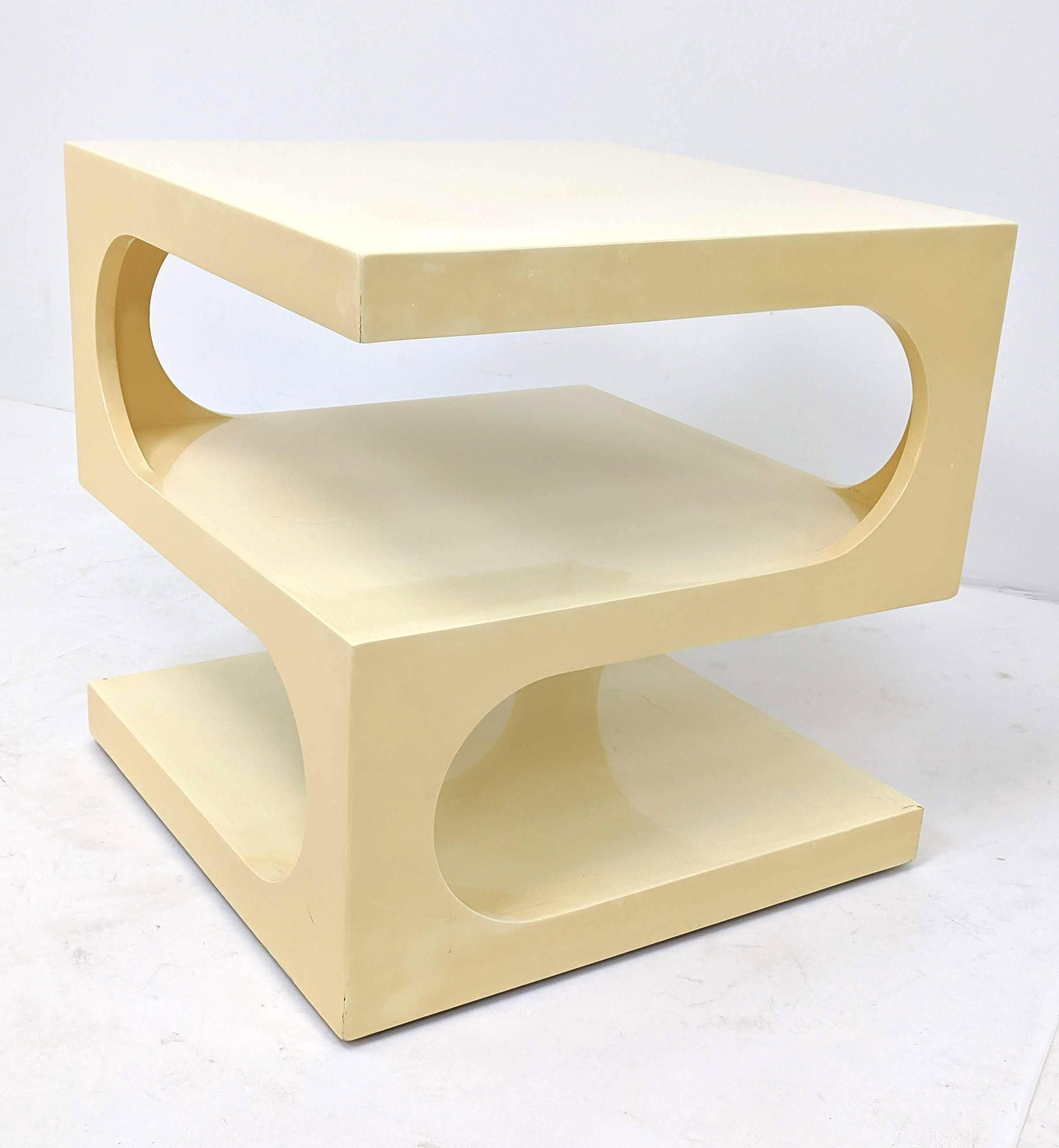 191210 114 Dunbar Style Dimensional Off White Lacquer Side Table Square Cube With Rounded Cutout Tiers Unmarked Side Table Square Side Table Antique Auctions