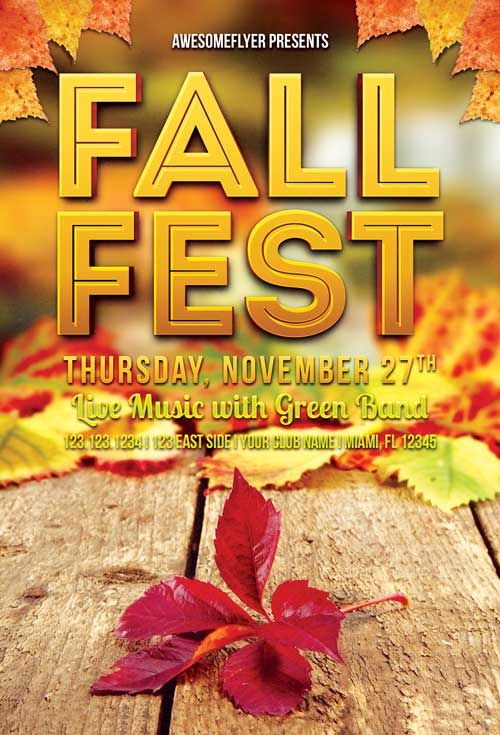 Fall Fest Free Flyer Template -    freepsdflyer fall-fest - fall flyer