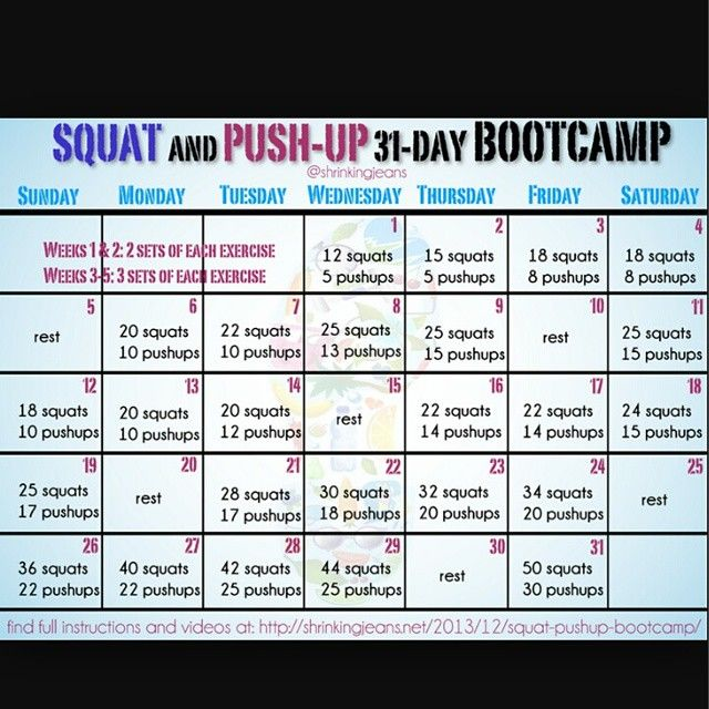 Squat  Push-Up 30 Day BootCamp Work Outs Pinterest Squat