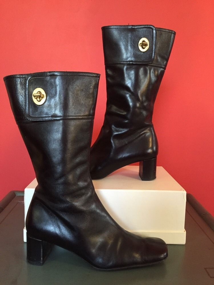 a5e9e4f2a3fc9 Details about Prada Womens BLACK Leather Mid Calf Boots Heels Square ...
