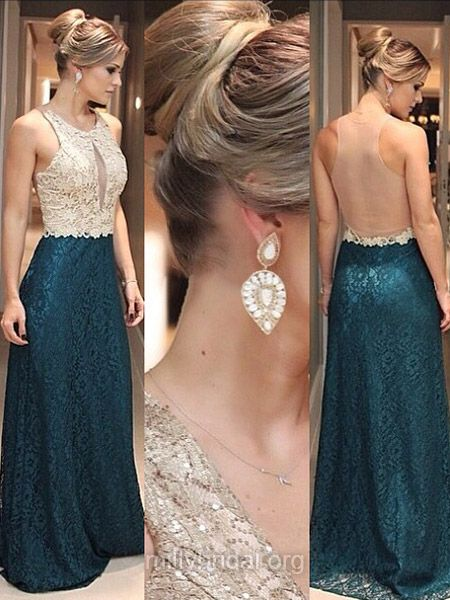 Noble Lace Evening Dresses, Scoop Neck Long Party Dresses, Tulle Appliques Lace Formal Dresses, Sheath/Column Prom Dresses