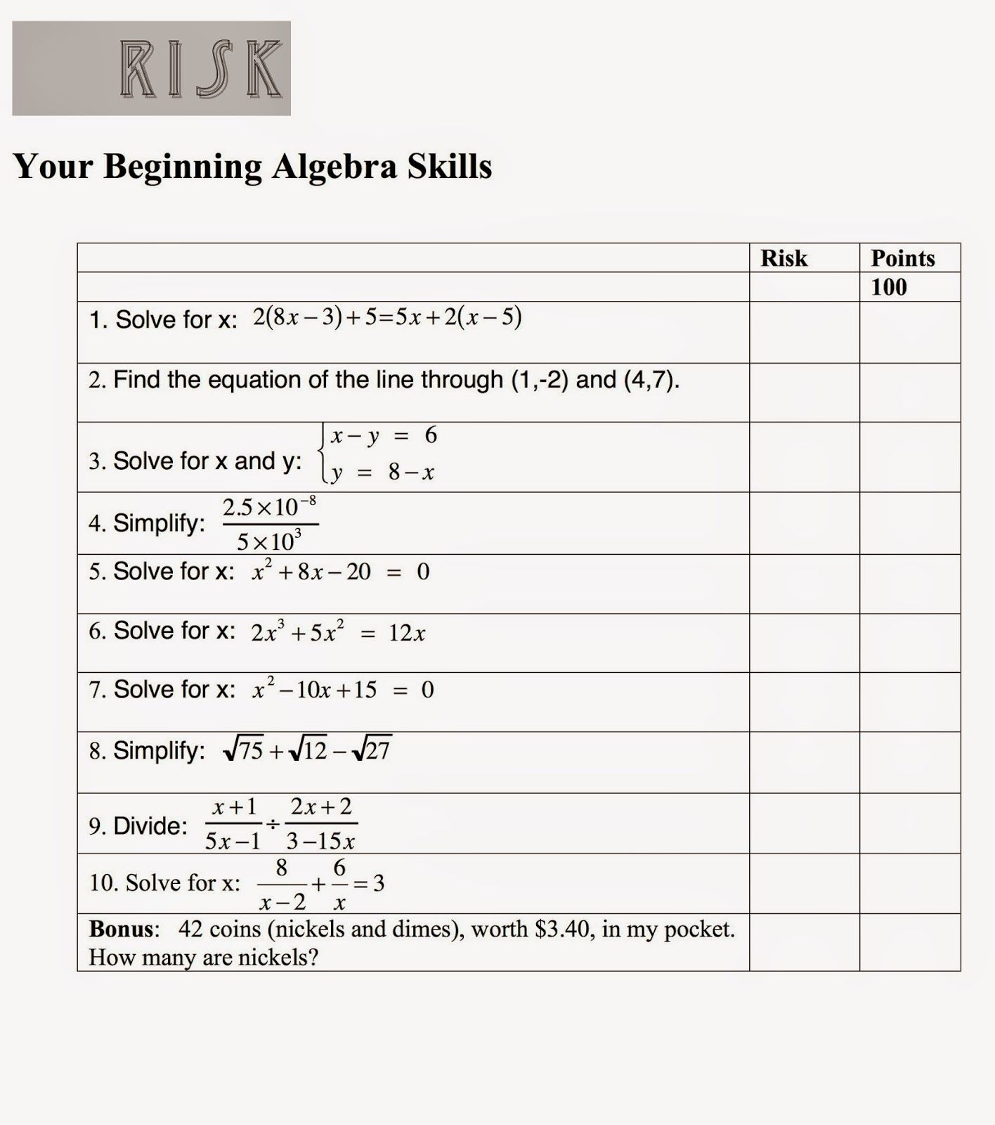 Math Mama Writes...: Math Game: Risk Your Beginning Algebra Skills ...