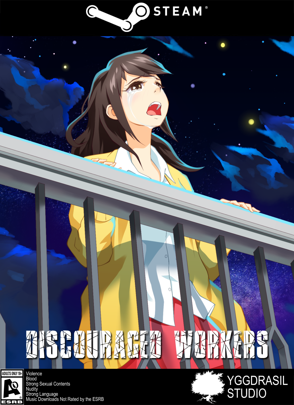 Our new Discouraged Workers Steam Boxshot frontside cover