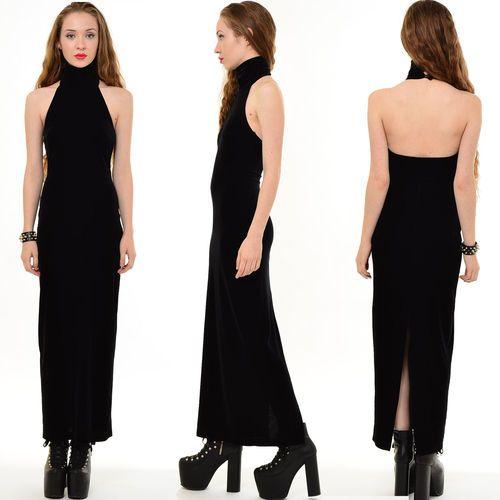 Vtg 90s VELVET Goth BACKLESS Bodycon CHOKER Bandage Prom Maxi Dress ...
