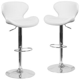 2pk Contemporary Adjustable Barstool With Curved Back Chrome