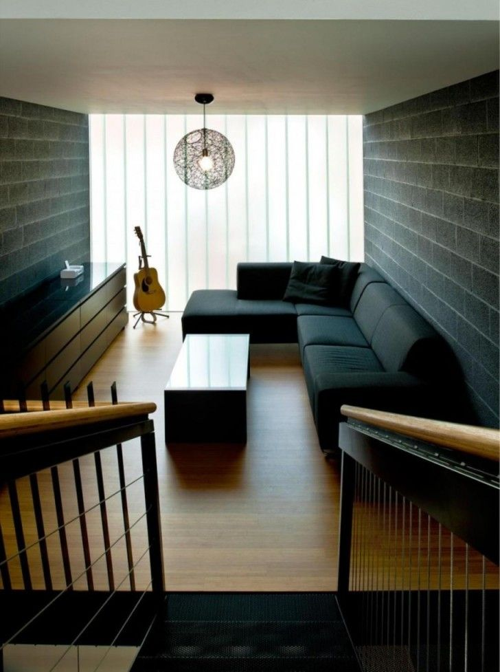 Space Saving Living Room Furniture And Ideas: Fascinating Modern Living Room  Ideas Narrow Design L Shape Black Sofa Color Black Brick Wall Laminate  Floor ...