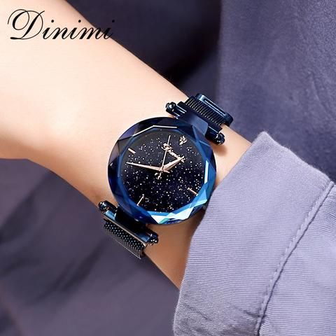 4cb6379a6 Dimini Magnetic Women Watches Starry Dial Lady Watch Mesh Belt Women Dress  Watch Luxury Quartz Wrist