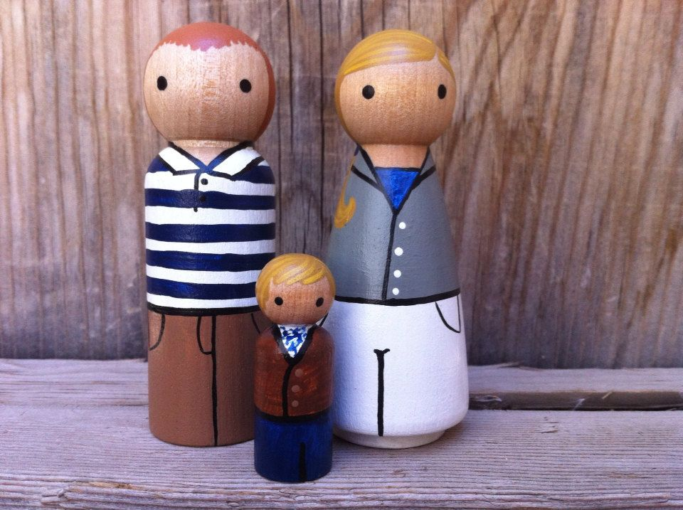Custom Peg Doll Family of 3  Peg People painted to by PegBuddies, $40.00
