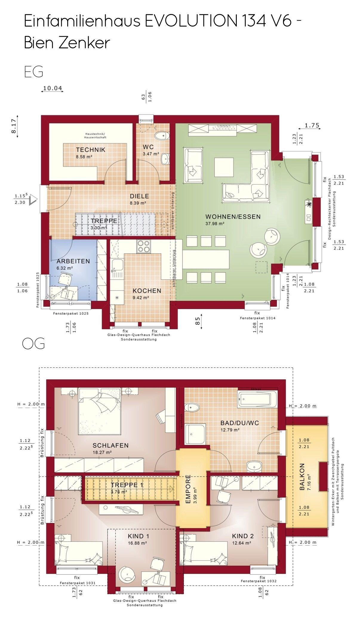 Einfamilienhaus Grundriss gerade Treppe & Satteldach