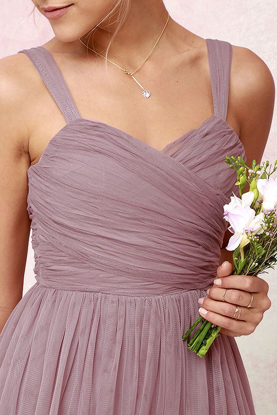 We'll make dress shopping as easy as we can for you with the Sunday Kind of Love Mauve Tulle Gown! You won't believe how gorgeous this mauve purple maxi dress is in real life, with layers of tulle wrapping a padded sweetheart bodice (with shoulder straps), and expanding into a voluminous full skirt. Wear it as-is, or customize to your heart's desire! Hidden back zipper/clasp.