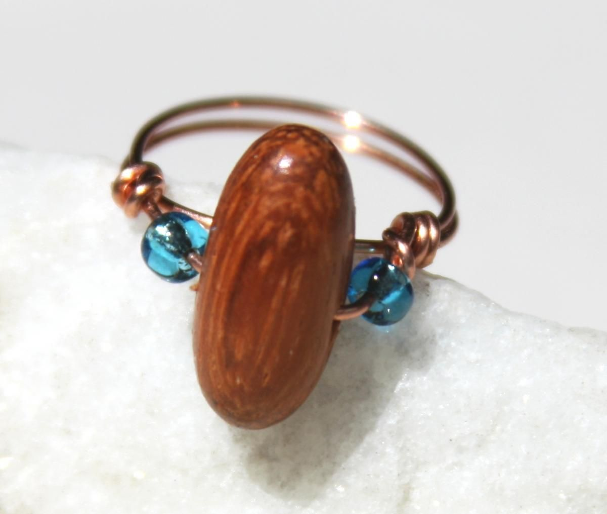 Copper Ring with a Wood and Glass Beads