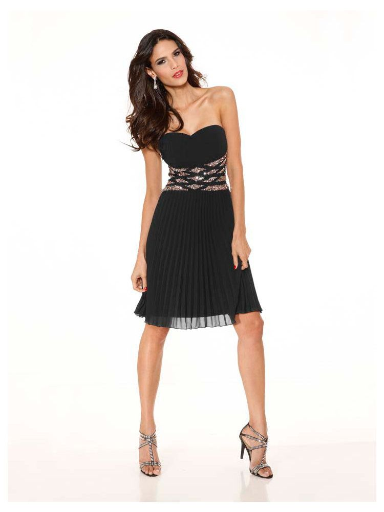 c31942d2102 Robe de soirée courte plissée à bustier pailleté   pour les femmes élégantes  !