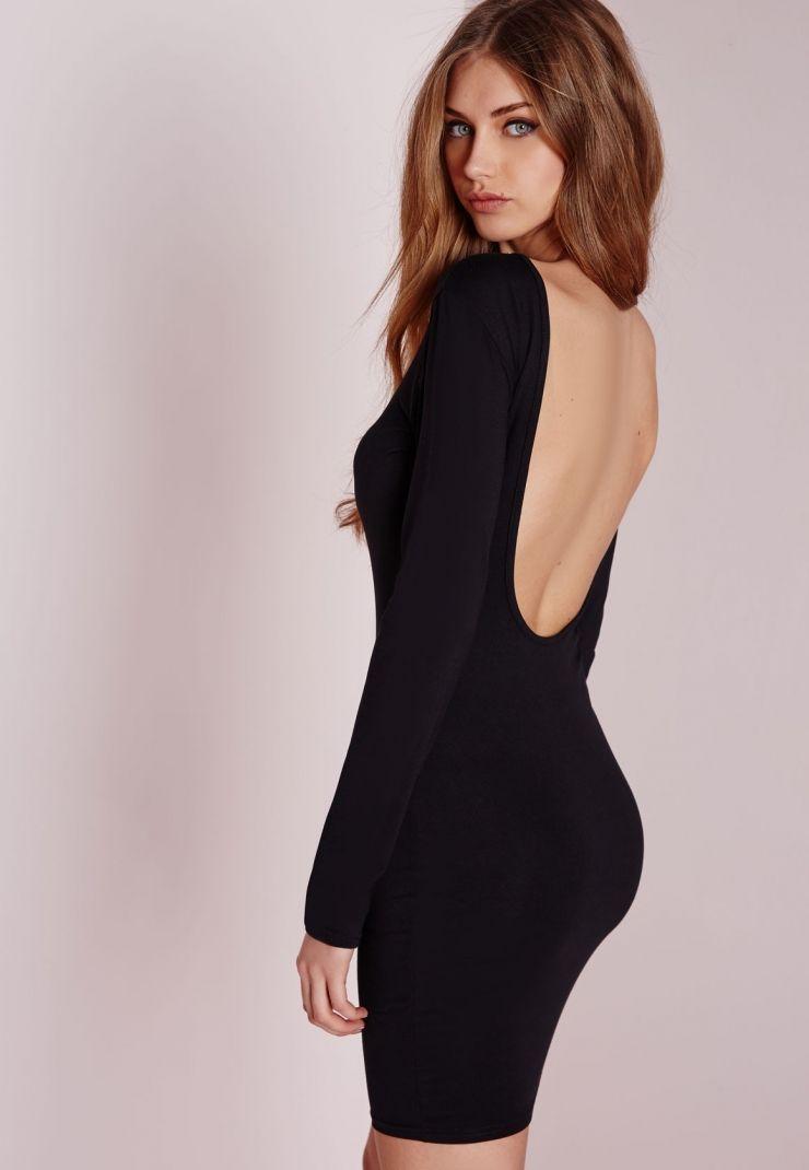 Jersey Scoop Back Bodycon Dress Black.