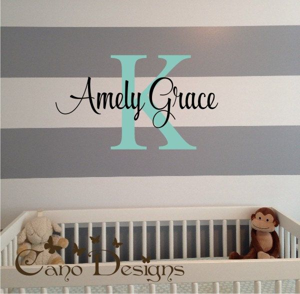 Monogram Name Vinyl Wall Art Initial And Name Vinyl Decal - Custom vinyl wall decals nursery