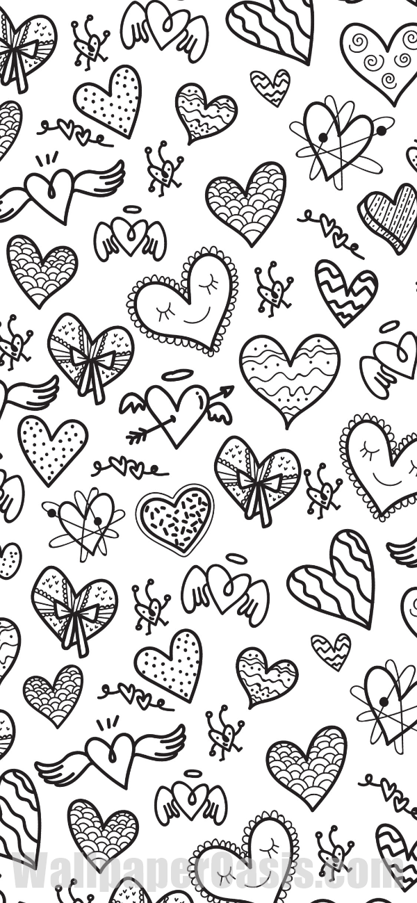 Free Black And White Heart Doodle Pattern Iphone Wallpaper This Design Is Available For Iphone 5 Through Ip Heart Doodle Doodle Patterns Black And White Heart
