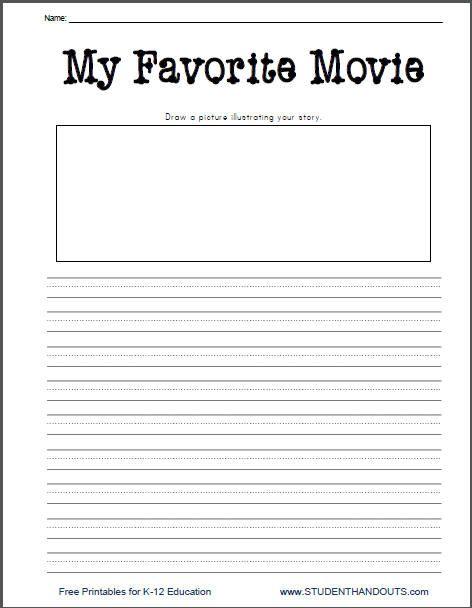 My Favorite Movie Free Printable Writing Prompt Worksheet