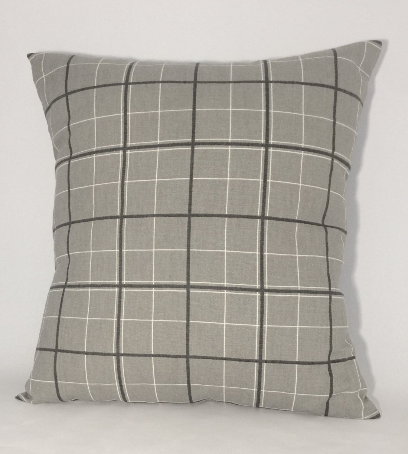 Gray White and Charcoal Plaid Decorative Accent Pillow Cover 18