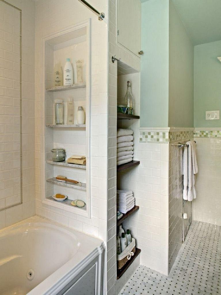 40 Lovely And Smart Diy Apartment Bathroom Wall Shelves Ideas Built In Bathroom Storage Bathroom Storage Solutions Small Bathroom Storage